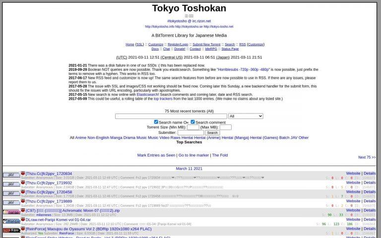 Tokyotosho - all Porn Torrent Sites